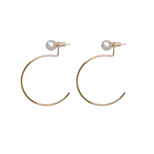 Peral w Ear-Jacket Hoops