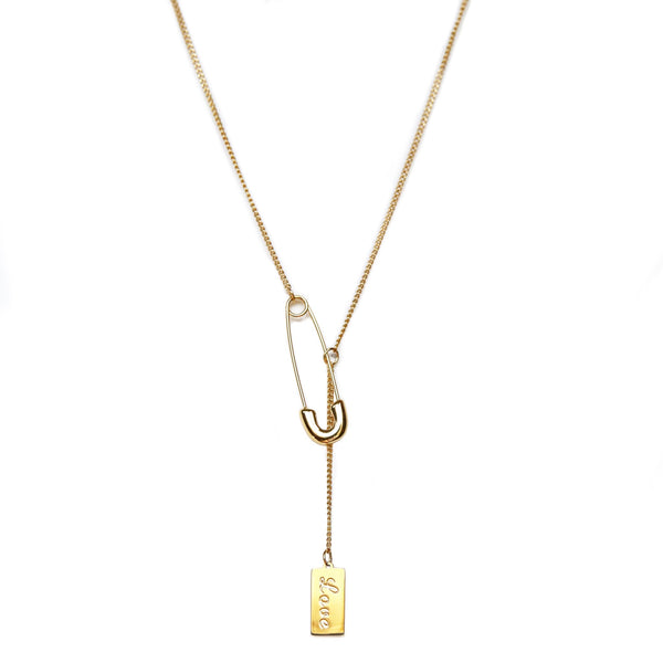 Safety Pin Necklace | Gold
