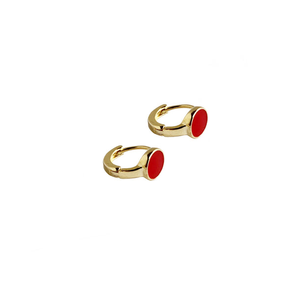 Red Circle Hoops | Gold