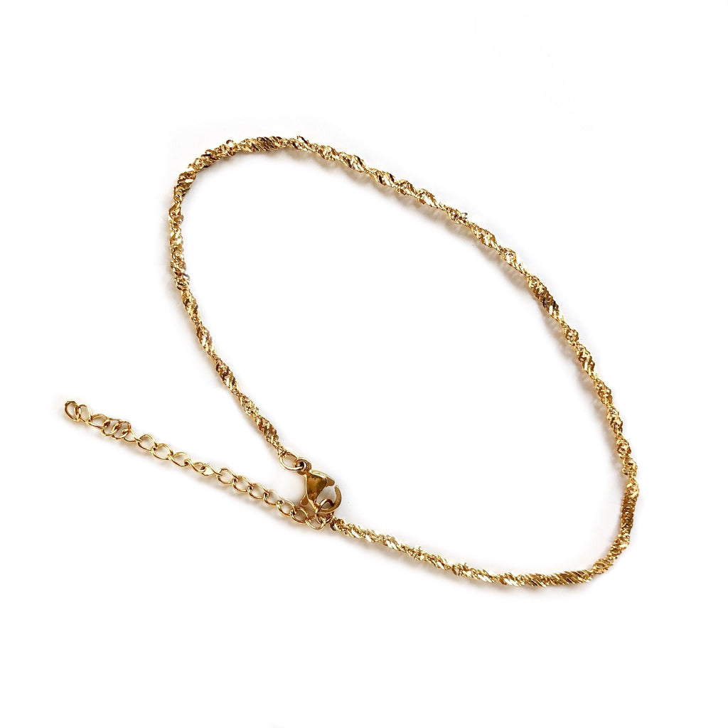 Twisted Chain Anklet | Gold