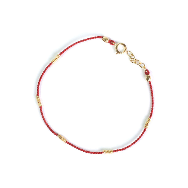 Wrapped Wire Silk Bracelet | 14K Gold Filled, Red