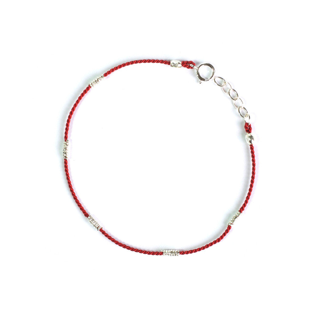 Wrapped Wire Silk Bracelet | Red, Silver