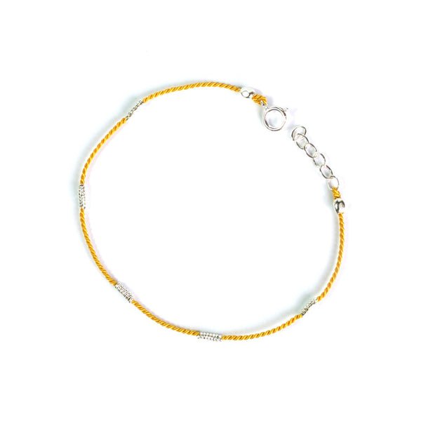 Wrapped Wire Silk Bracelet | Yellow, Silver