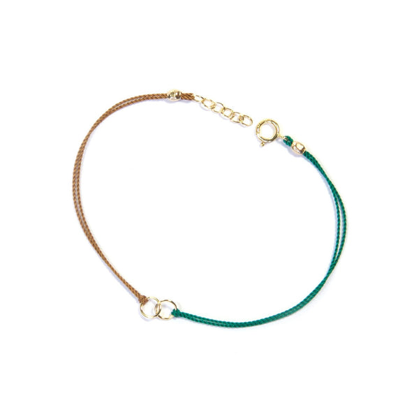 Circle Link Silk Bracelet | Green & Tan, Gold