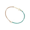 Circle Link Silk Bracelet | Green and Tan, 14K Gold Filled