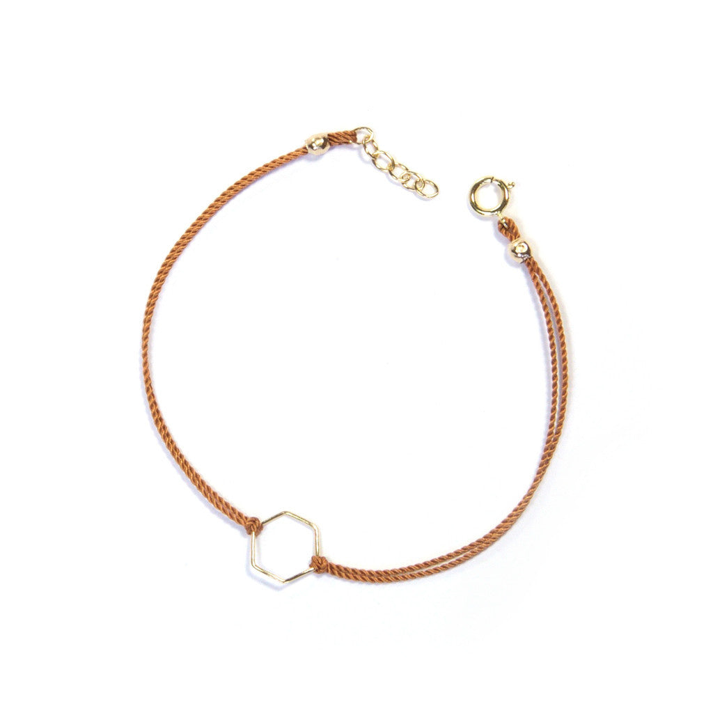 Silk Geo Bracelet | 14k Gold Filled, Tan, Hexagon