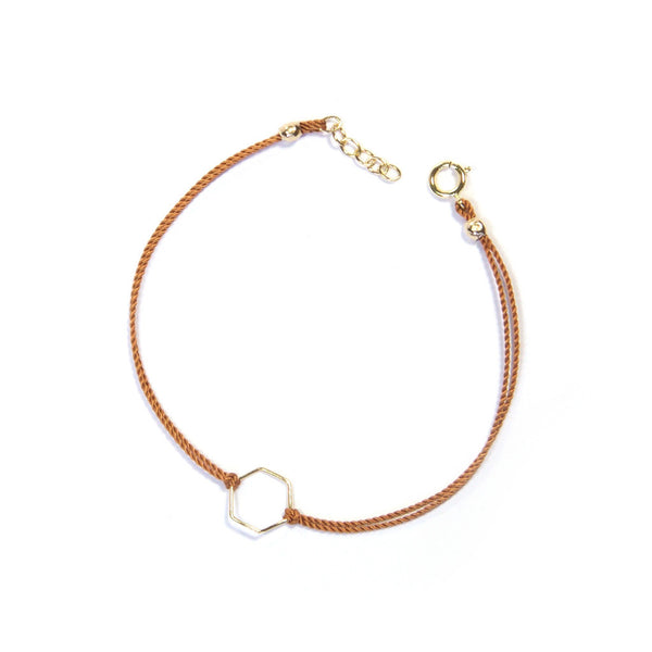 Silk Hexagon Bracelet | Tan, Gold