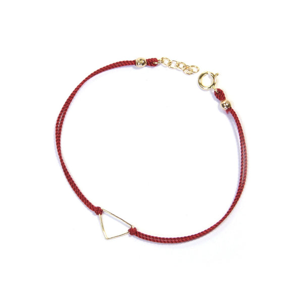 Silk Triangle Bracelet | Red, Gold