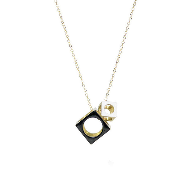 Two Cube Necklace | Black & White