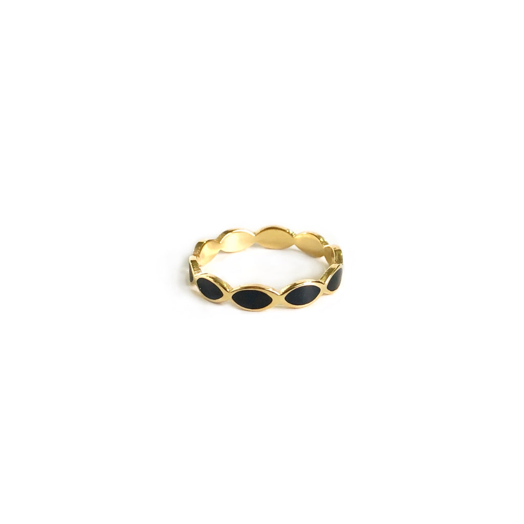 Black Enamel Band Ring | Gold