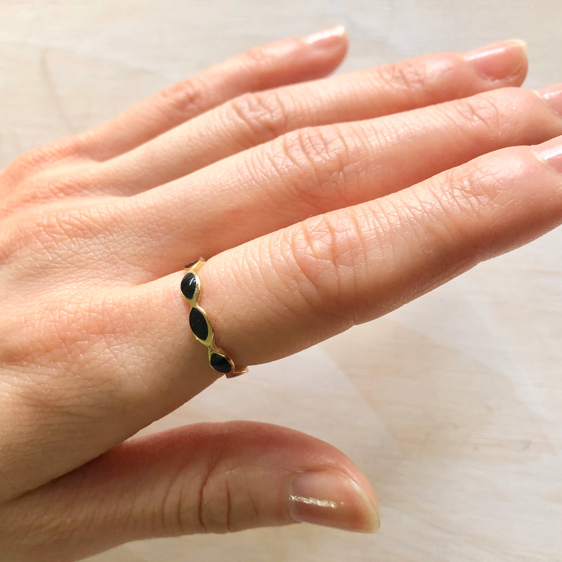 Black Enamel Band Ring