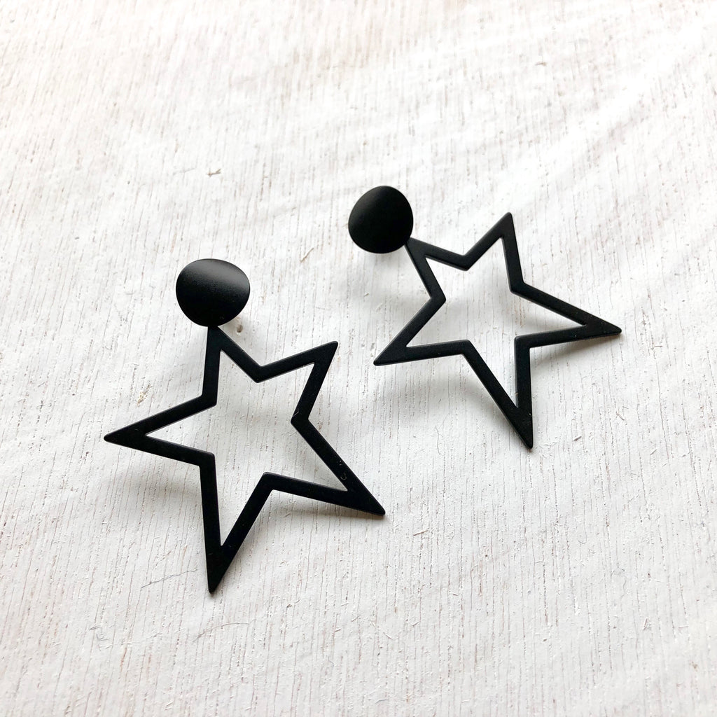 Star Dangle Earring | Matte Black