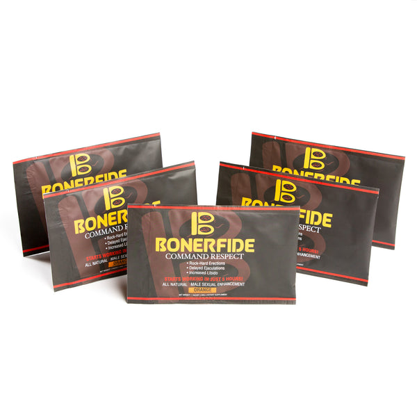 Bonerfide 5-Pack. Male Sexual Enhancement. Designed to significantly enhance your sexual performance. Effective for ED (Erectile Dysfunction). All-Natural.