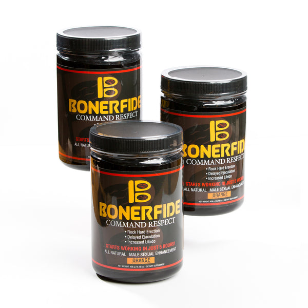 Bonerfide 90-Dose Supply (3 Large Jars). Male Sexual Enhancement. Designed to significantly enhance your sexual performance. Effective for ED (Erectile