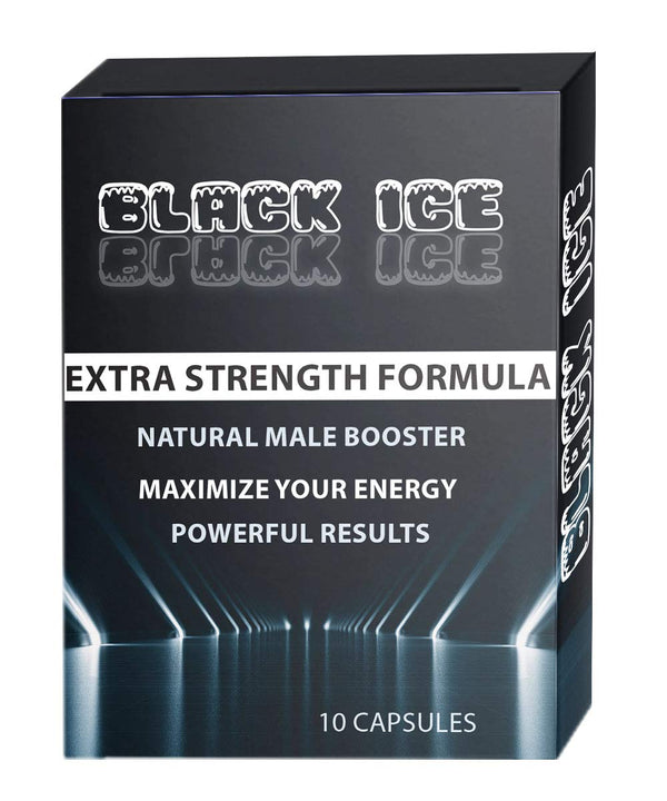Black ICE Extra Strength Formula All Natural Male Energy Pills - Effective Amplifier for Strength, Energy and Endurance - Clinically Proven Men Pill (10 Caps) - CertNutri