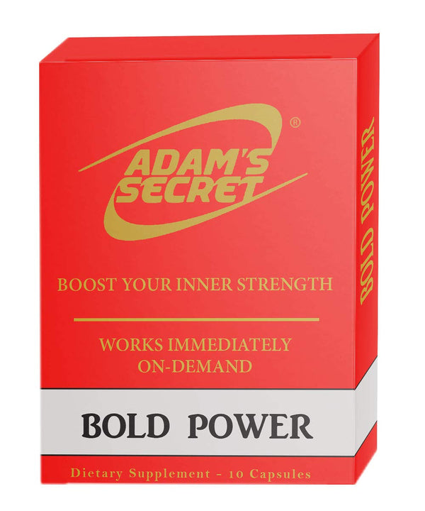 Bold Power by ADAM'S SECRET Natural Male Energy Enhancing Pills - Natural Amplifier for Strength, Energy and Endurance - Clinically Proven Effective Men Pills (10 Caps)