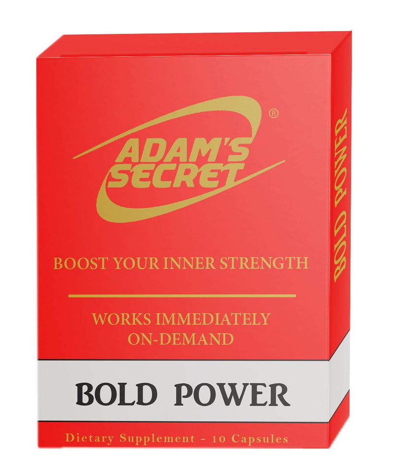 Bold Power by ADAM'S SECRET Natural Male Energy Enhancing Pills - Natural Amplifier for Strength, Energy and Endurance - Clinically Proven Effective Men Pills (10 Caps) - CertNutri