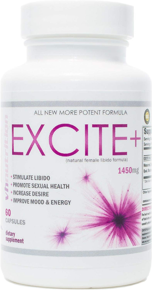 ExcitePlus | Intimacy Formula for Women | Epimedium, Maca, Vitex, Dong Quai, Shatavari and More | Capsules to Drive Better Intimate Experiences | 30 Day Supply - CertNutri