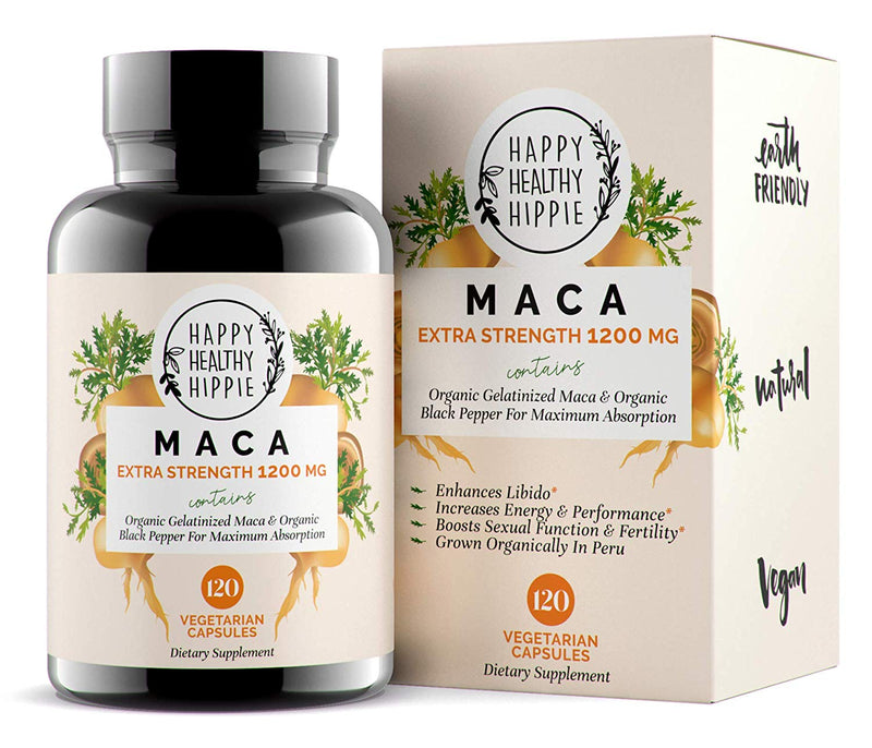 Organic Maca Root Supplement 1200mg – Gelatinized - Fast Superior Absorption - Powerful Peruvian Natural Energizer - Libido, Passion Performance for Women and Men - 120 Maca Capsules and Black Pepper - CertNutri