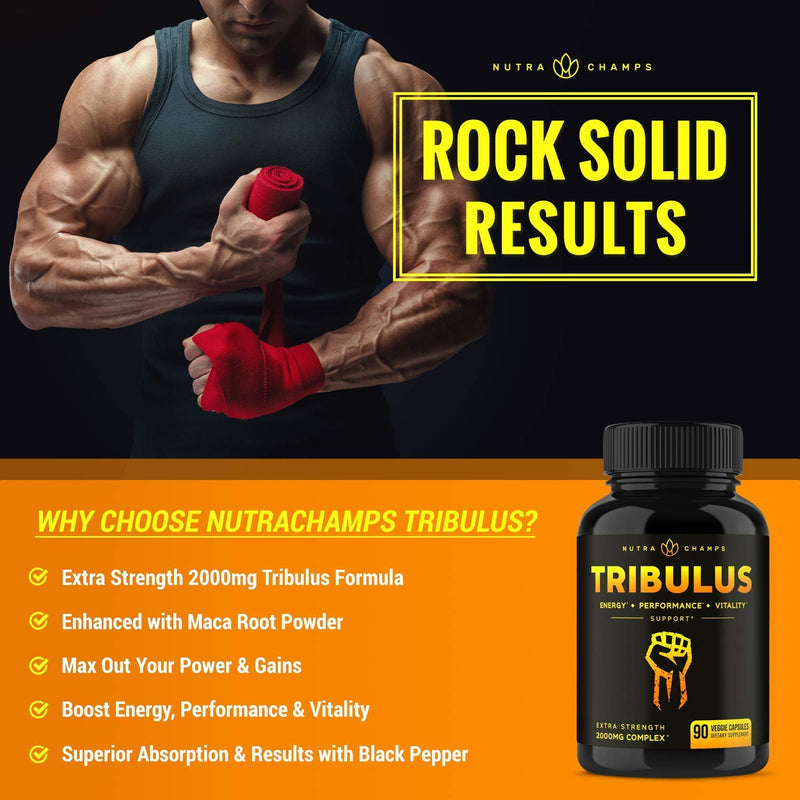 Tribulus Terrestris 2000mg Supplement [Extra Strength] 45% Steroidal Saponins - Enhanced Absorption with Maca Powder & Black Pepper Extract - Tribulus Terrestris for Men & Women - 90 Vegan Capsules
