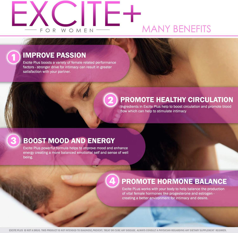 ExcitePlus | Intimacy Formula for Women | Epimedium, Maca, Vitex, Dong Quai, Shatavari and More | Capsules to Drive Better Intimate Experiences | 30 Day Supply