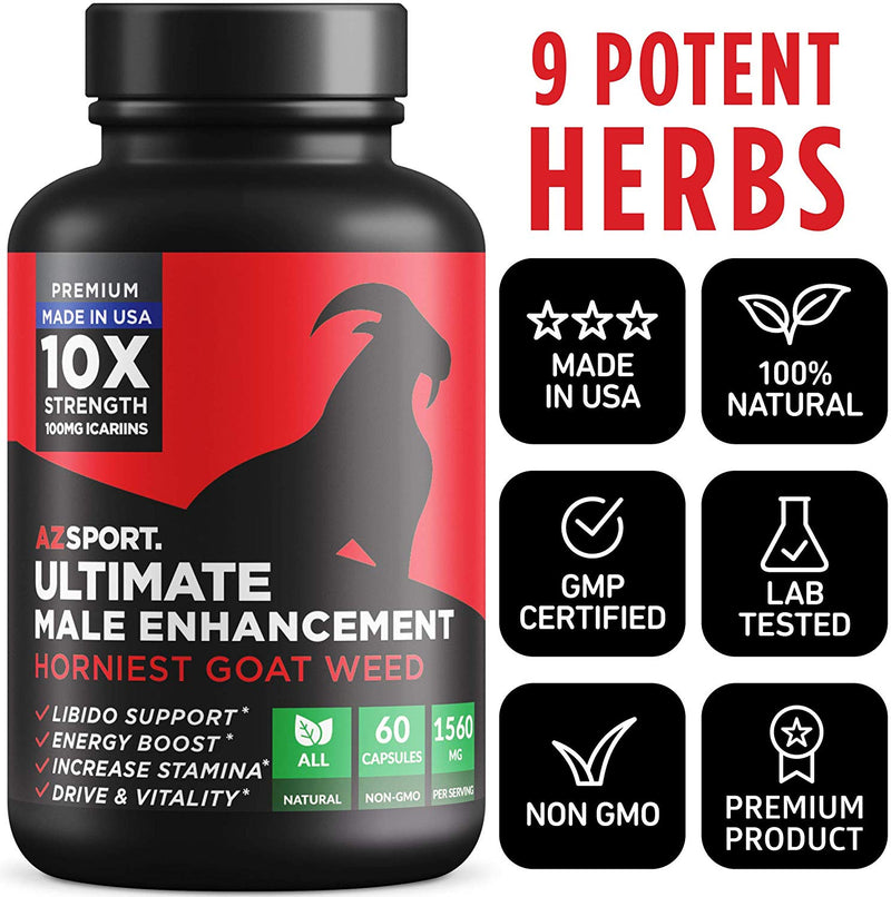 AZS Premium Male Enhancing Pills - Enlargement Booster for Men [10X Strength] - Increase Drive, Stamina & Endurance - Fast Acting & Natural Horny Goat Weed Supplement with 100mg Icariins - CertNutri