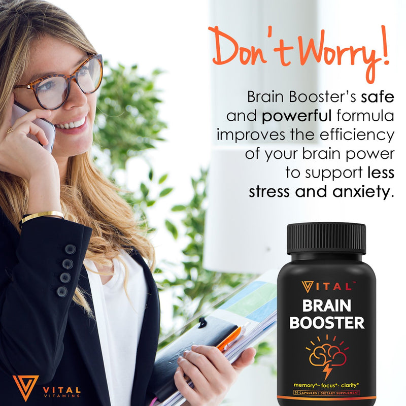 Brain Supplement Nootropics Booster - Enhance Focus, Boost Concentration, Improve Memory & Clarity For Men & Women, Ginkgo Biloba, DMAE, Mind Enhancement, IQ Neuro Energy, Vitamin B12, Bacopa Monnieri - CertNutri