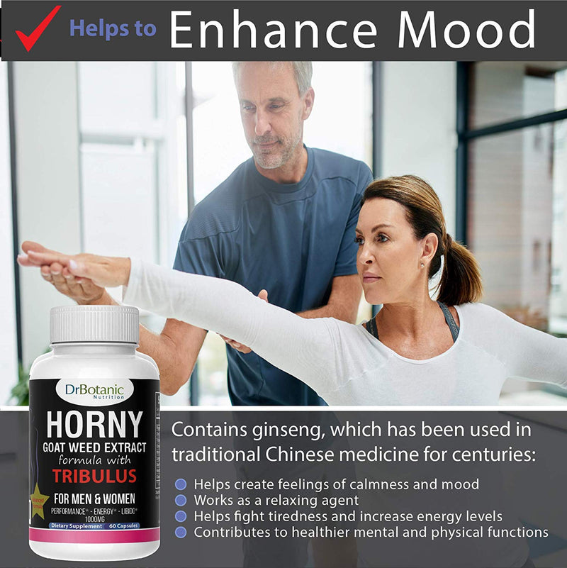 DrBotanic Nutrition Male & Female Performance Booster with Horny Goat Weed Extract and Tribulus Terrestris-60 Caps - CertNutri
