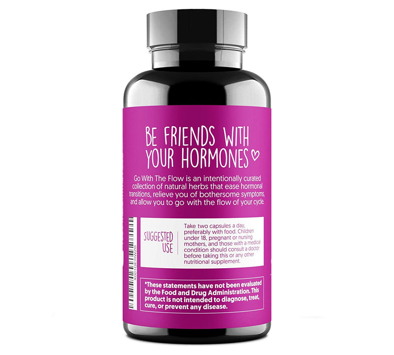 Go with The Flow Hormone Balance for Women - Supports All Hormonal Stages | PMS PMDD Relief | Hot Flashes Menopause Relief | 100% Plant Based | 60 Vegan Non-GMO Capsules - CertNutri