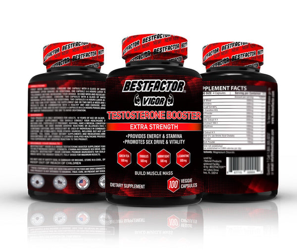 BESTFACTOR Vigor Testosterone Booster Pills for Men by Best Factor(100 Veggie Caps). Test Booster Supplement for Stamina & Strength - Enhance Sex Drive & Libido - Promotes Weight Loss & Fat Burning - CertNutri