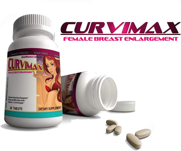 CURVIMAX Female Breast Enhancement and Enlargement Pills, Bust Enhance for Bigger Breasts. 60 Tablets by MARINANATURALS - CertNutri