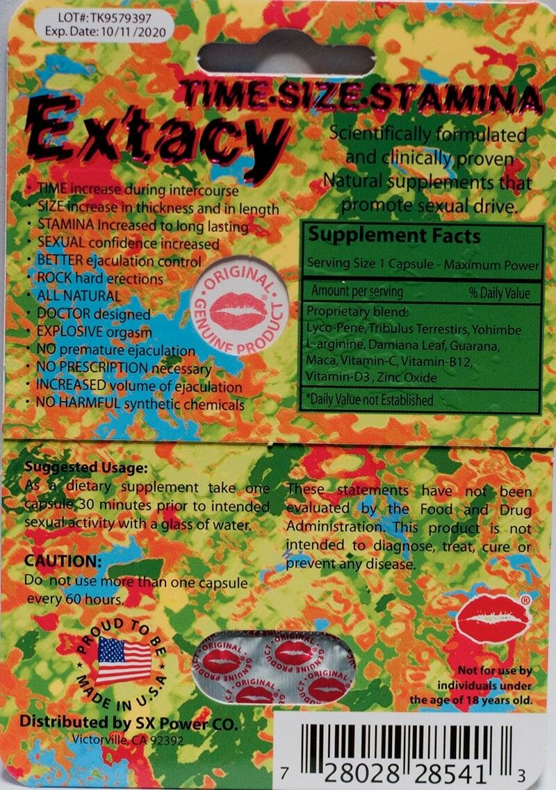 Extacy 7 Days Long Lasting Male Sexual Enhancement supplement For Men (1 pill ) 728028285413 - CertNutri