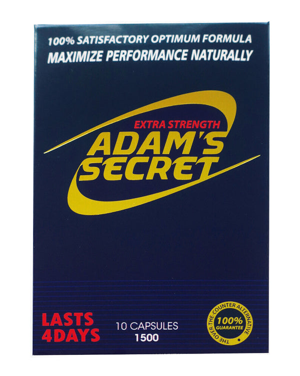 Adam's Secret Male Enhancement Pills Men Sexual Performance Enhancer 1500 10pill 609728434625