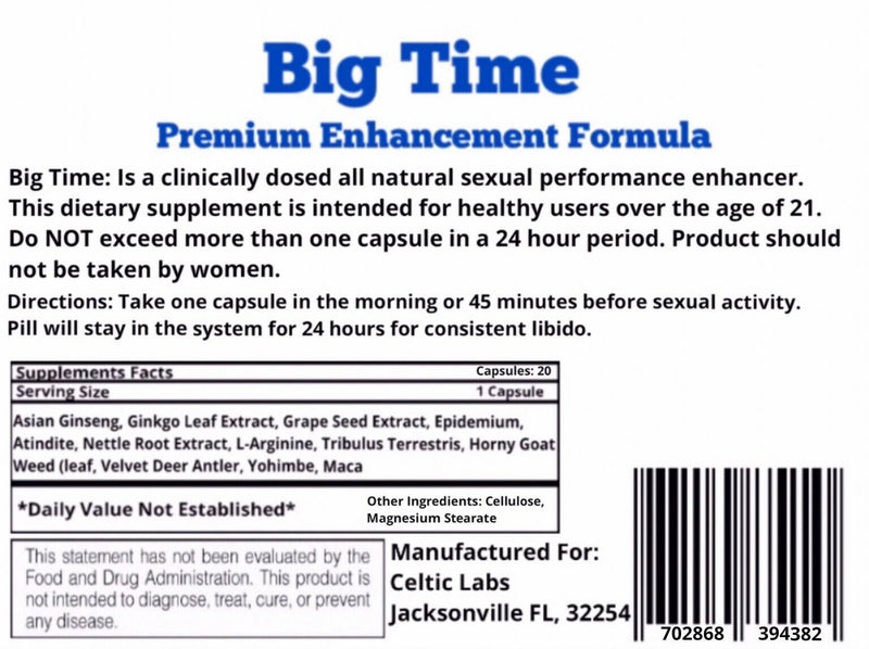 BIG TIME Male ENLARGEMENT 20 PILLS Bigger Dick Penis Growth Enhancement 702868394382 - CertNutri