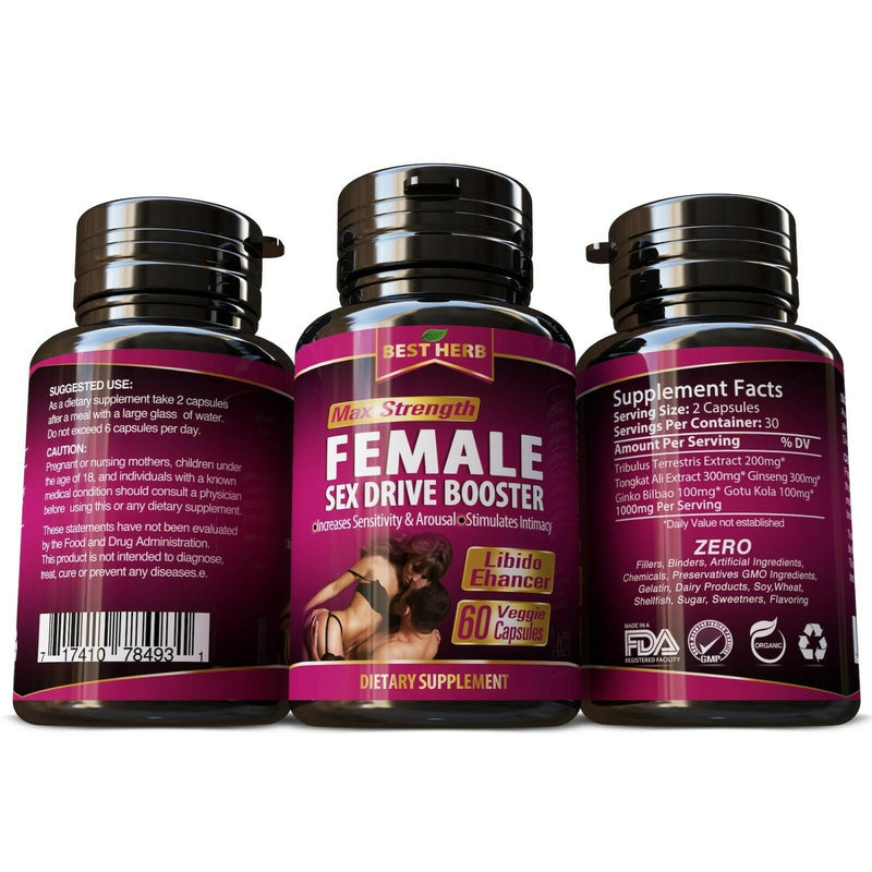 Best Herb Natural Female Libido Enhancer Increases Arousal Sensitivity Supplement 60 Caps - CertNutri