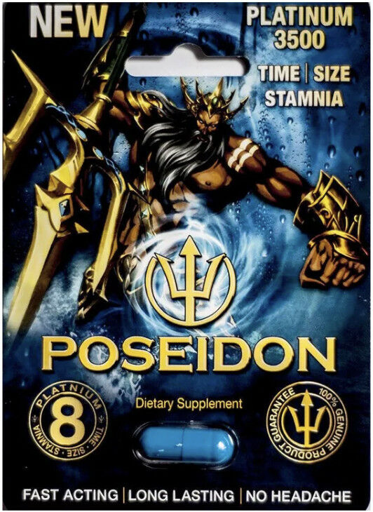 Poseidon Platinum 3500 Male Enhancement - 6 Authentic pills 95842058760 - CertNutri