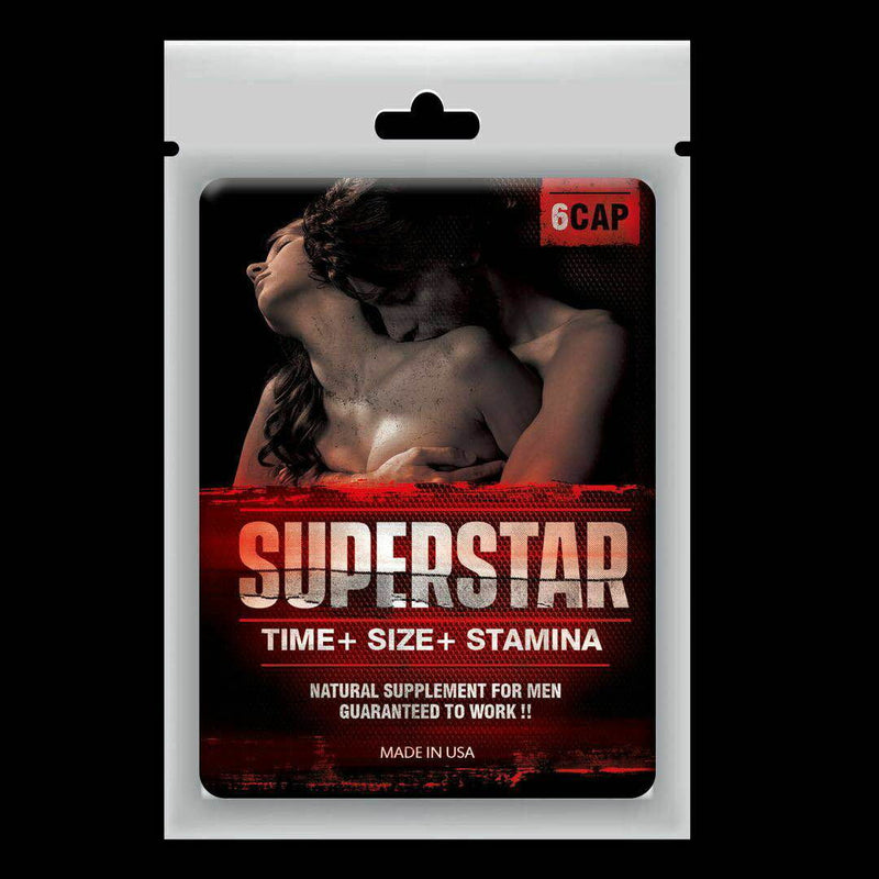 Sex Pills SUPERSTAR Male Enhancement Erectile Sexual 2 Bag = 12 Pills - CertNutri