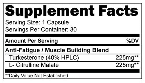 L-Citrulline & Turkesterone XTRME Male Enhancement Bodybuilding Supplements NEW! 753807152822