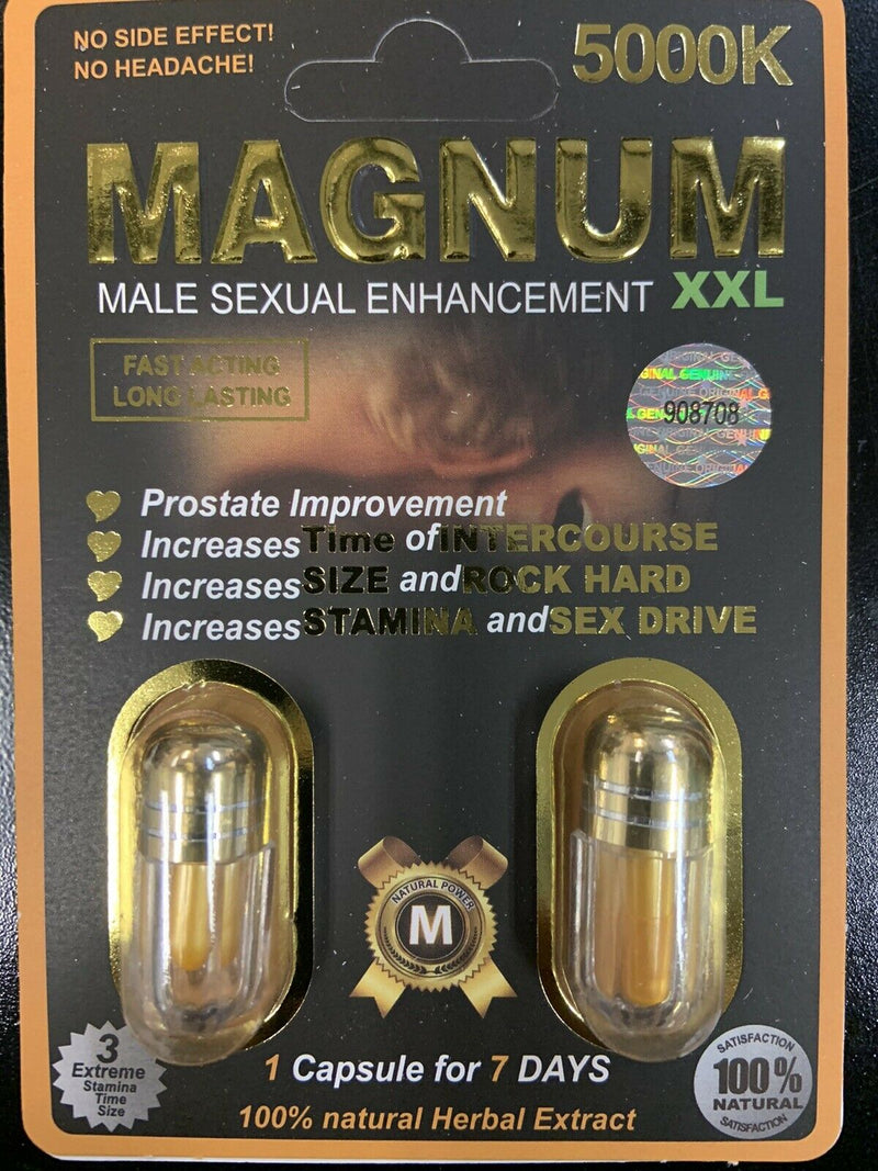 MAGNUM  XXL 5000K MALE ENHANCEMENT SEXUAL DOUBLE PILL PACK 100% AUTHENTIC