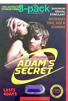 Adams Secret 1500 Natural Pills for Men Boost Your Performance,and Energy 3-Pack