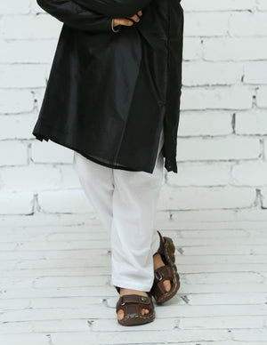 Black Silk Kurta Pyjama Set for Boys