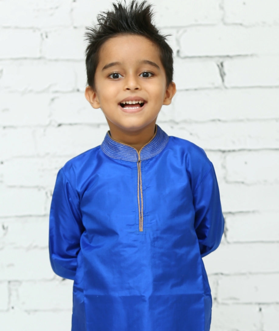 Blue Silk Kurta Pyjama Set for Boys