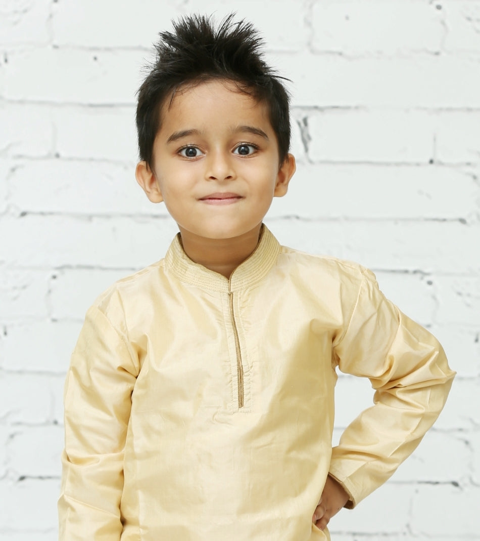 Cream Silk Kurta Pyjama Set for Boys