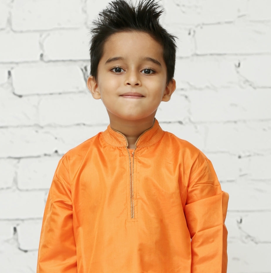 Orange Silk Kurta Pyjama Set for Boys