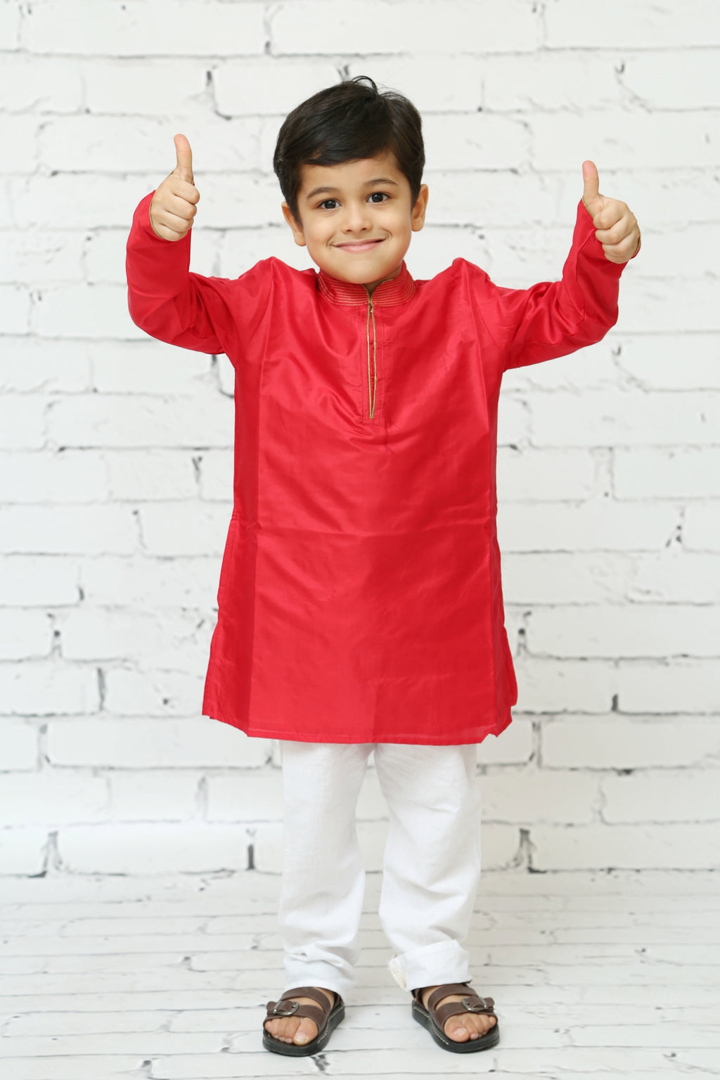 Red Silk Kurta Pyjama Set for Boys