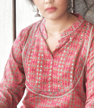 Pink Gold Printed Hand Embroidered Kurta