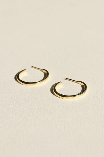 925 Organica Stud Hoop Earrings - Gold