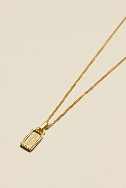 925 Rectangle Pendant Necklace - Gold