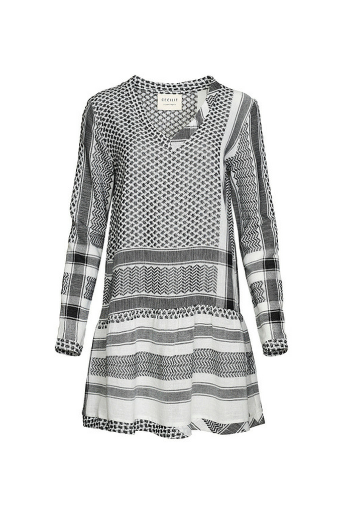 Dress 2, V, Long Sleeves - Black & White