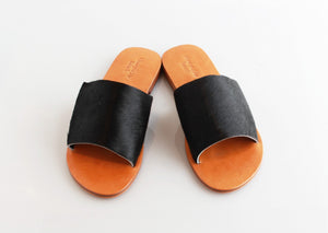 Honeysuckle Beach Slide Cow Hide- Black